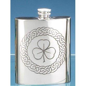 Pewter Shamrock Flask