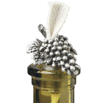 Pewter Grapes Bottle Candle with wick