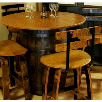 Barrel Bistro Table with Oak Top