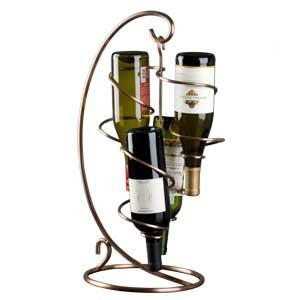Table Tendril 4 Bottle Copper Wine Rack