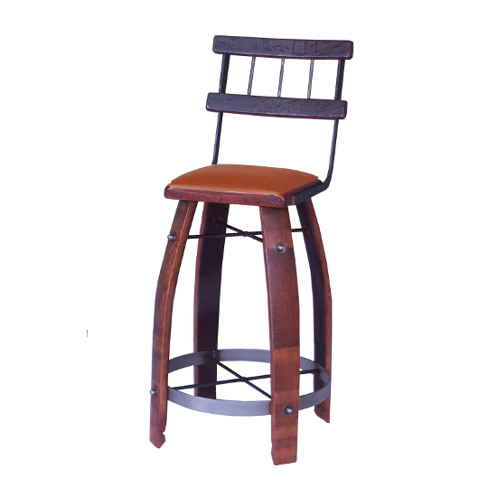 """Wood Stave Stool with Back and Tan Leather Seat, 28"""""""
