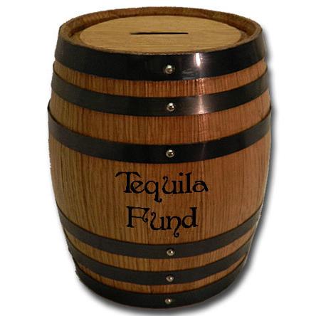 Tequila Fund Mini Oak Barrel Bank
