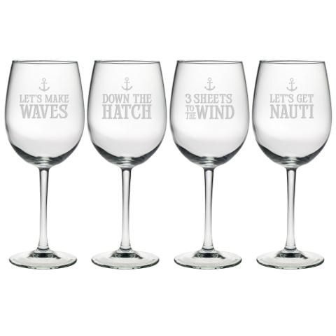 Down The Hatch Stemmed Wine Glasses (set of 4)