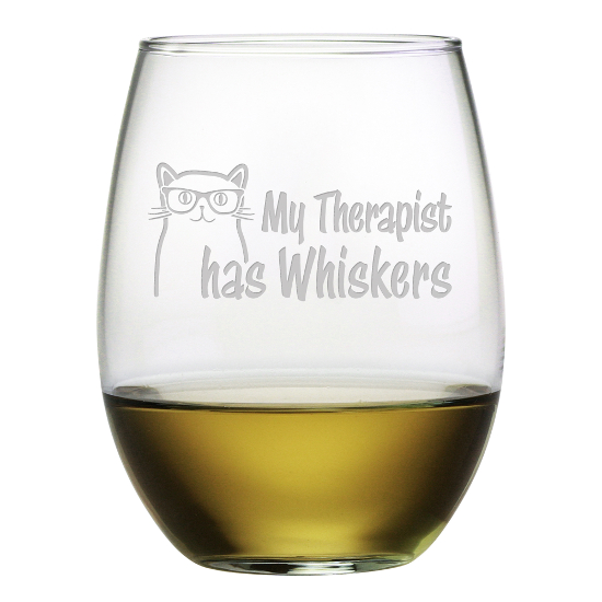 My Therapist Has Whiskers Stemless Wine Glasses (set of 4)