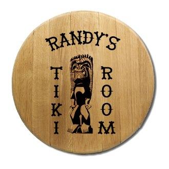 Tiki Room Barrel Head Sign