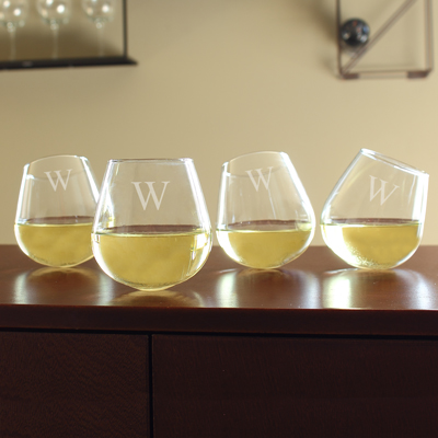 Personalized Tipsy Stemless Wine Glasses