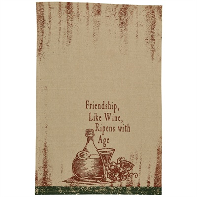 Friendship Like Wine Printed Dishtowel