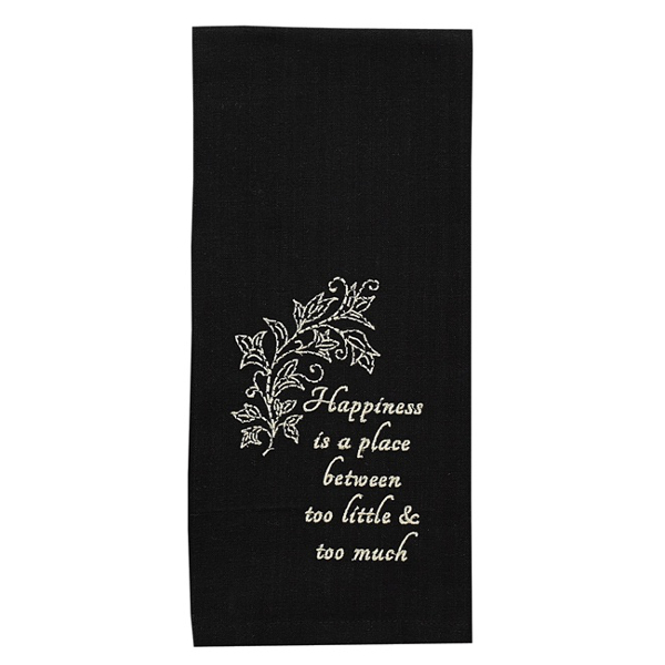 Happiness Is A Place Embroidered Dishtowel