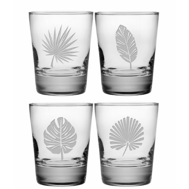 Tropical Foliage Assortment Dor Glass Set