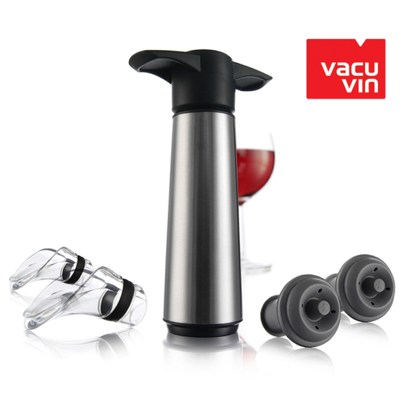 Vacu Vin Stainless Steel Wine Saver Pump with Two Stoppers