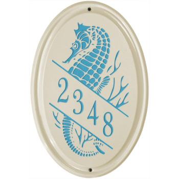 Seahorse Ceramic Vertical Address Plaque