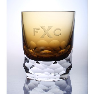 Personalized Vienna Amber Double Old Fashioned Glasses (set of 2)