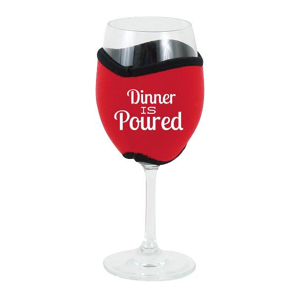 Neoprene Insulating Wine Glass Hug, Dinner is Poured