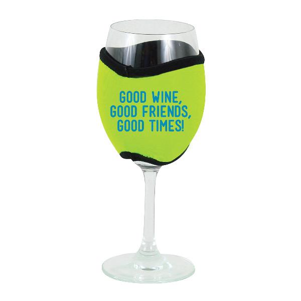 Neoprene Insulating Wine Glass Hug, Good Wine