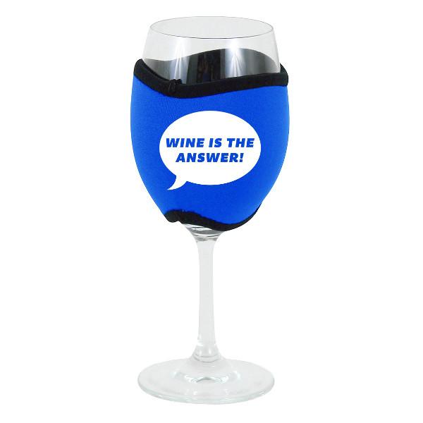 Neoprene Insulating Wine Glass Hug, Wine is the Answer