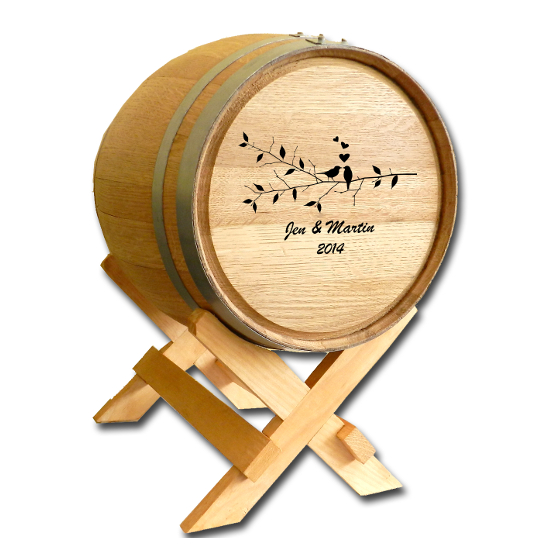 Wedding Wine Barrel Card Holder - Birds