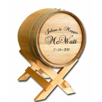 5 Gallon Wedding Barrel Special Engraved with Names