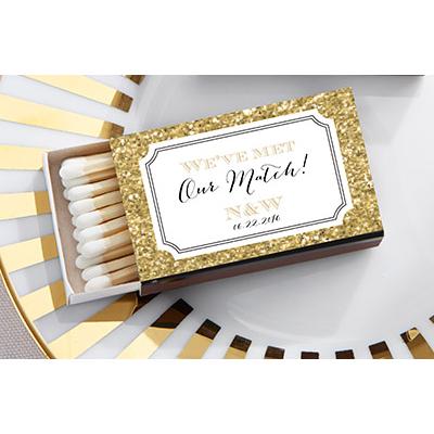 Personalized Golden Glitter Wedding Matchboxes (set of 50)