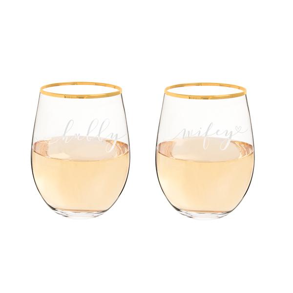 Hubby & Wifey Gold Rim Stemless Wine Glasses