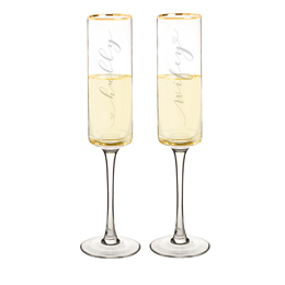 Hubby & Wifey Gold Rim Champagne Flutes