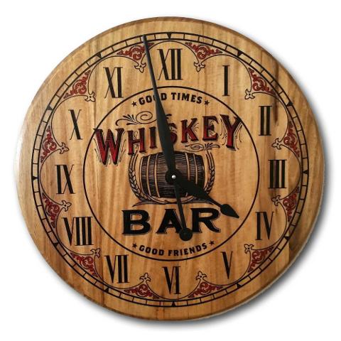 Whiskey Bar Barrel Head Clock