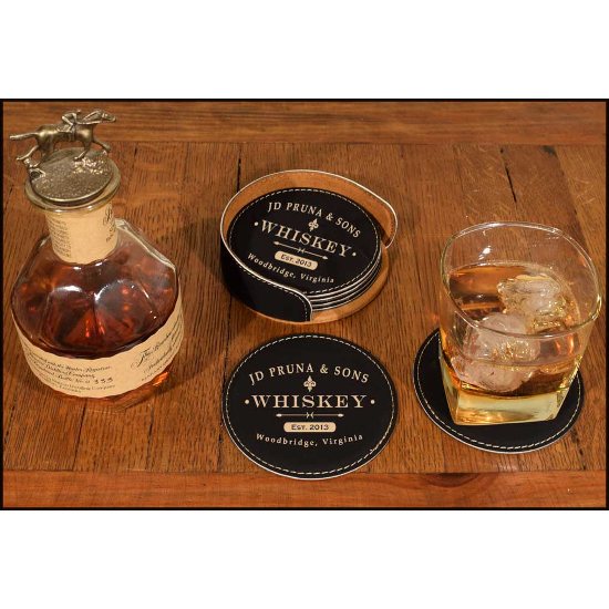 Personalized Classic Label Leather Coasters