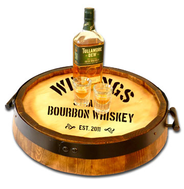 Personalized Whiskey Quarter Barrel Serving Tray