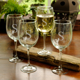 Personalized White Wine Glasses Set of Four