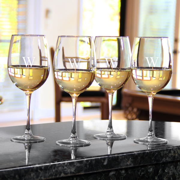 White Wine Glass Set (Set of 4), Personalized