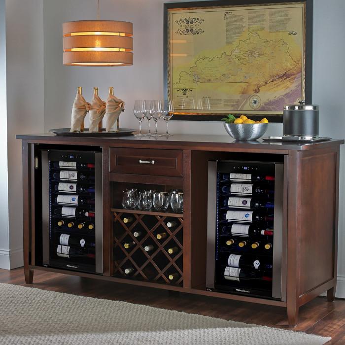 Firenze Wine and Spirits Credenza (Espresso) with Two Wine Refrigerators