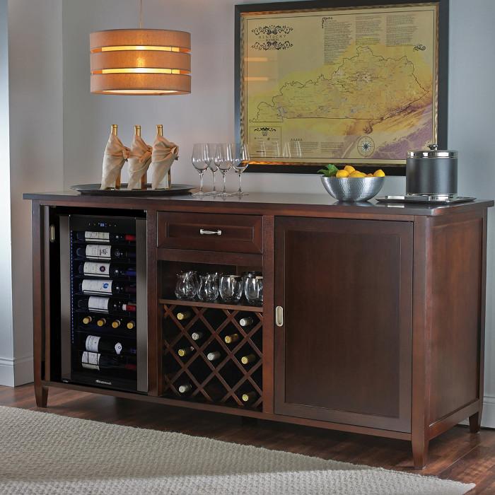 Firenze Wine and Spirits Credenza (Espresso) with Wine Refrigerator