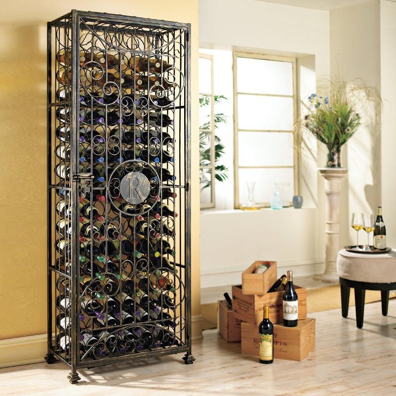Personalized 96 Bottle Antiqued Steel Wine Jail Wine Rack