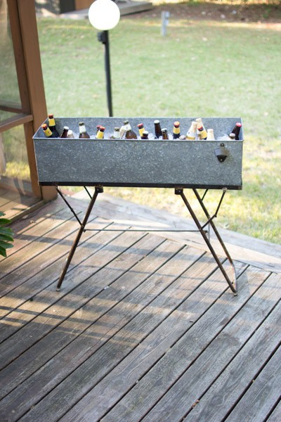 Galvanized Drink Tub With Stand & Bottle Opener