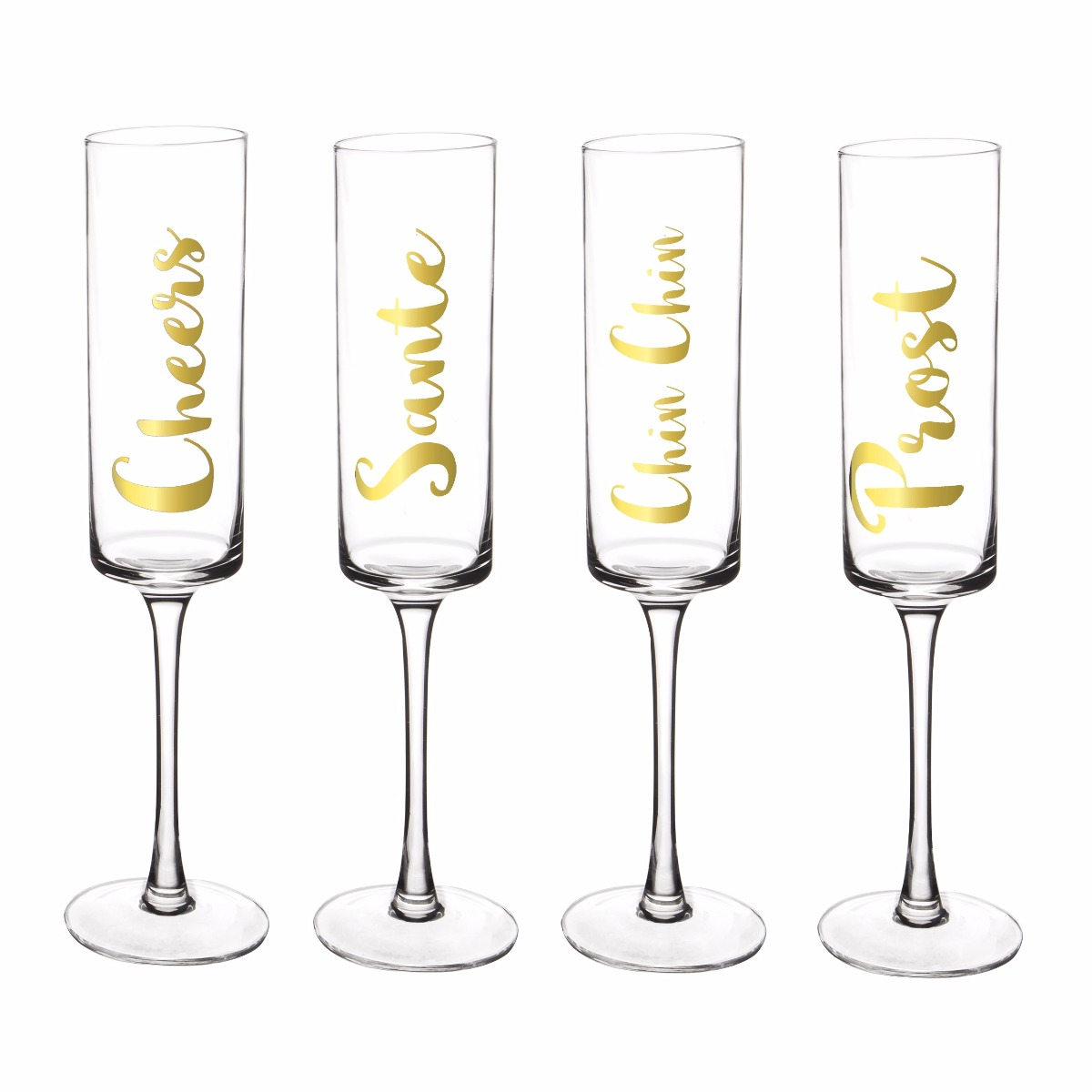 Gold Cheers Champagne Flutes (set of 4)