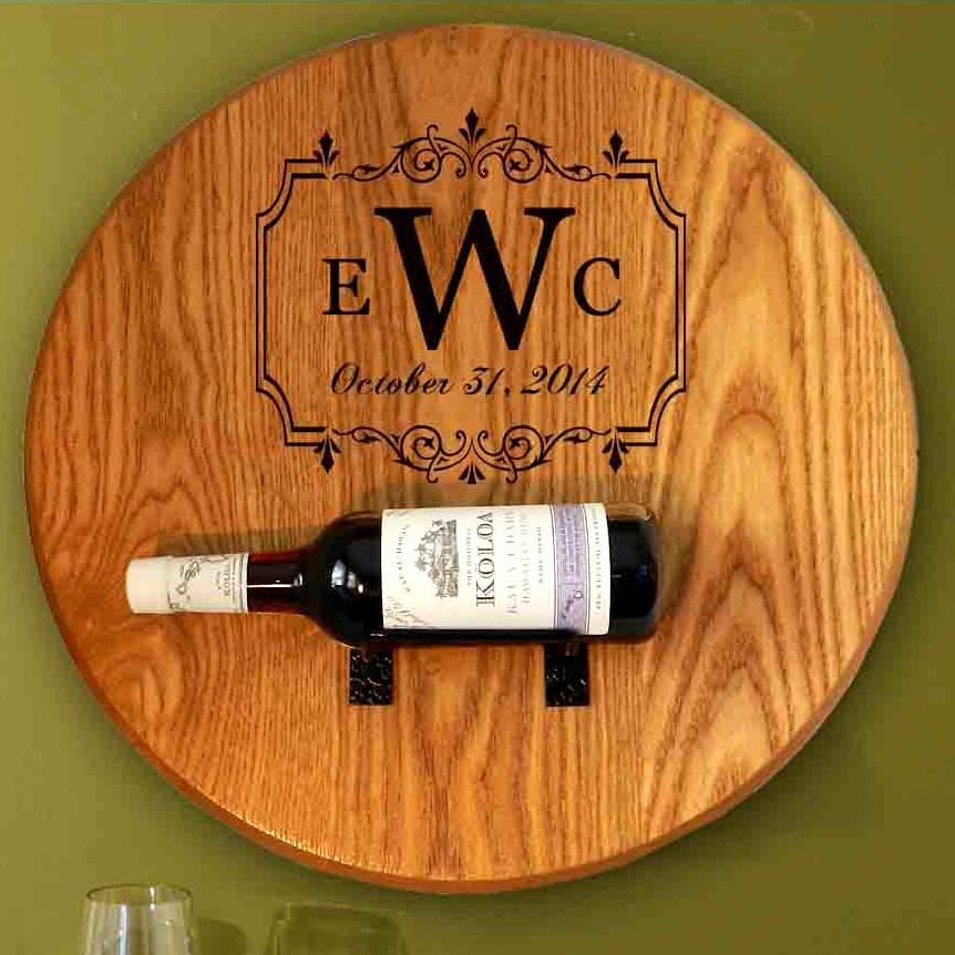 Monogram Barrel Head Wine Bottle Holder