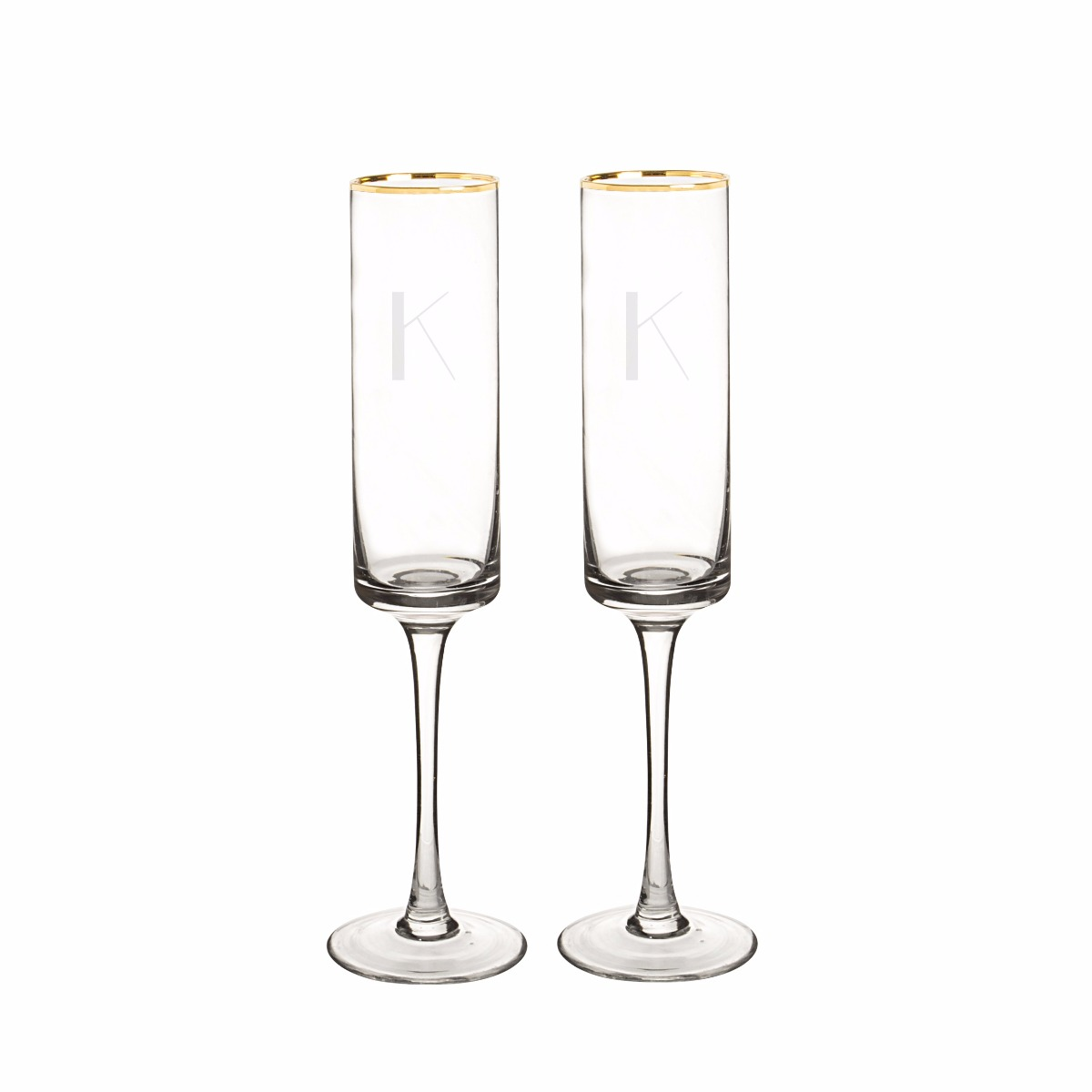 Personalized Gold Rim Champagne Flutes (set of 2)