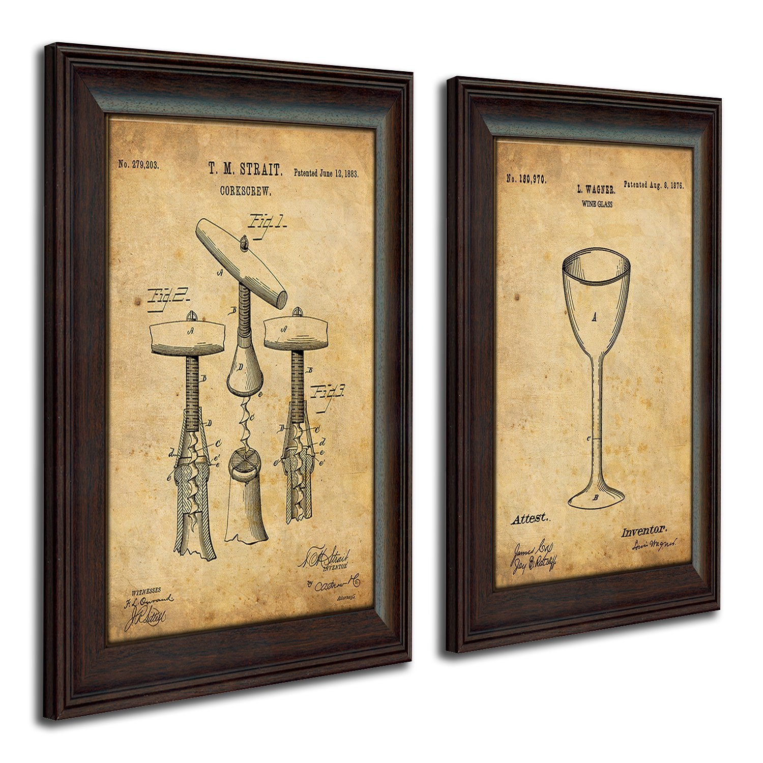 Framed Modern Patent Set - Wine