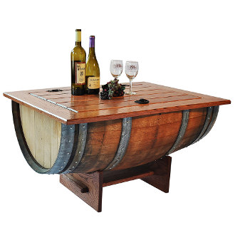 Vintage Oak Barrel Coffee Table