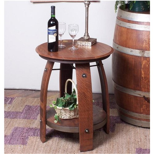 2 Day Wine Barrel Side Table With Shelf