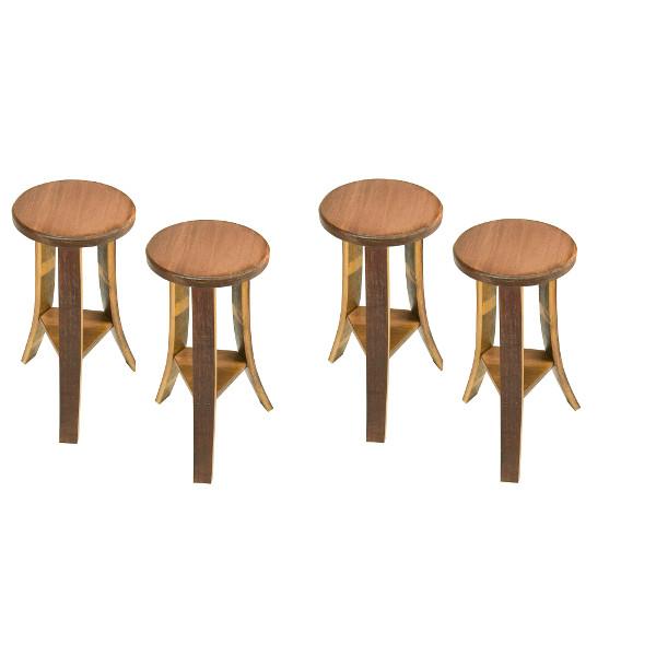 Wine Barrel Wood Stools (set of 4)