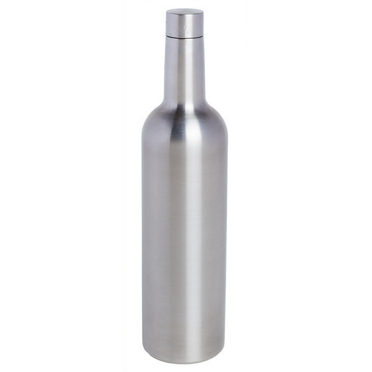 Triple Wall Wine Bottle Flask, Stainless Steel