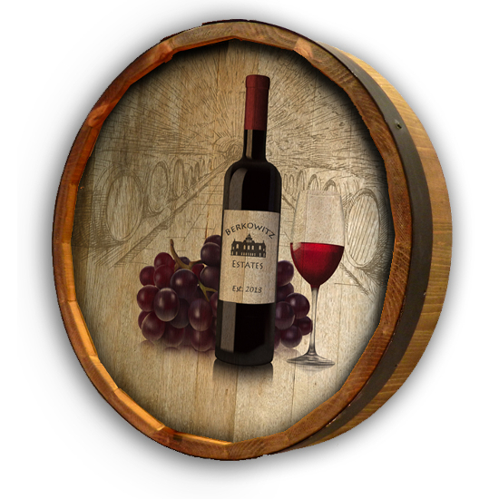 Personalized Wine and Grapes Quarter Barrel Sign