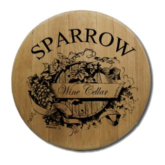 Wine Cellar Barrel Head Sign