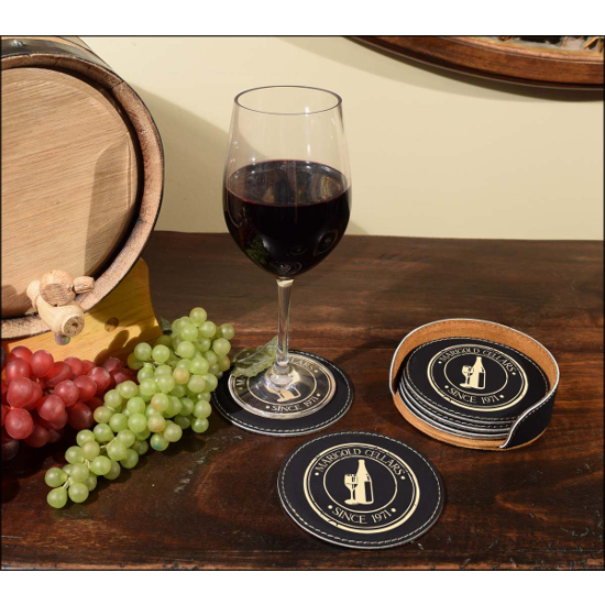 Personalized Wine Medallion Leather Coasters