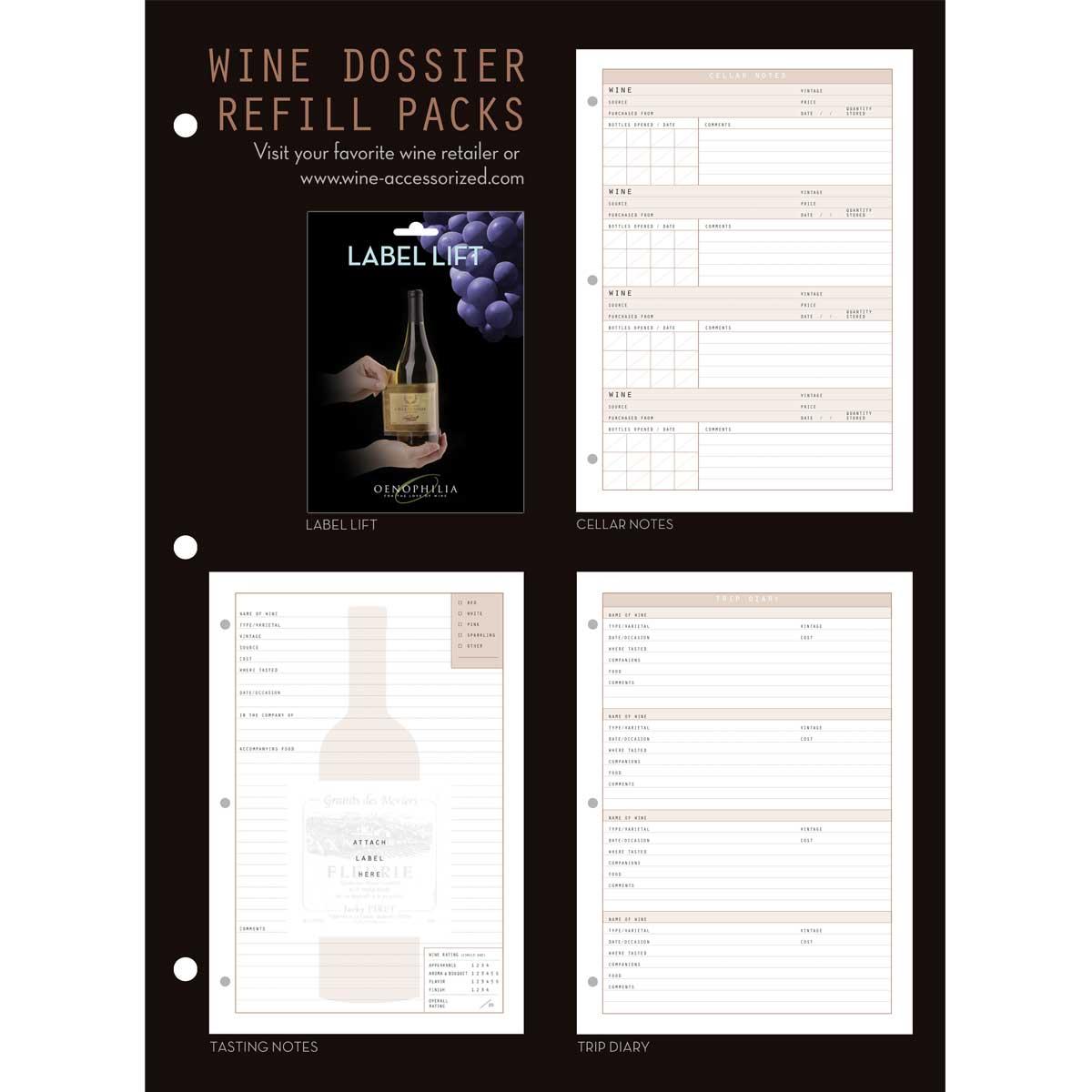 Wine Dossier Tasting Notes, 48 Sheet Refill