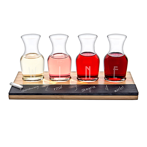 Personalized Slate and Bamboo Wine Flight Set