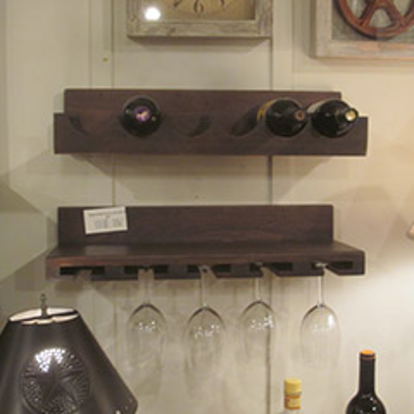 Country Wine & Glass Wooden Rack Set
