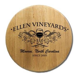 Wine Glass Barrel Head Sign