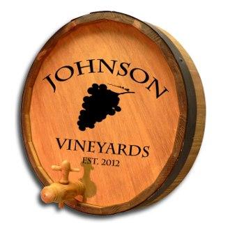 Wine Grapes Quarter Barrel Sign