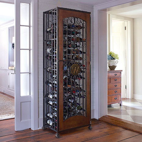 96 Bottle Antiqued Steel and Wooden Accent Wine Jail